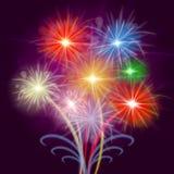 Comemore o fundo da explosão das mostras dos fogos-de-artifício e a comemoração Imagem de Stock