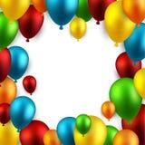 Comemore o fundo do quadro com balões ilustração stock