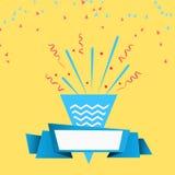 Comemore o projeto festivo da festa natalícia com fundo de papel da panela de fazer pipoca dos confetes, da fita e do partido ilustração royalty free