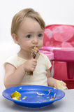 Comendo a galinha Fotos de Stock Royalty Free