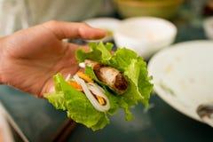 Comendo a mola vietnamiana Rolls Imagem de Stock Royalty Free