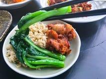 Comendo o alimento asiático em um restaurante Imagem de Stock