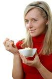 Comendo o gelado Fotografia de Stock Royalty Free
