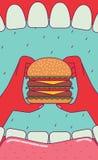 Comendo o hamburguer grande Fotos de Stock Royalty Free