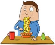 Comendo o macarronete ilustração do vetor