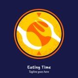 Comendo o molde do alimento do logotipo do tempo ilustração do vetor
