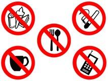 Comendo sinais proibidos de fumo Fotos de Stock Royalty Free
