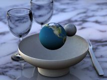 Comendo a terra/recursos Foto de Stock Royalty Free