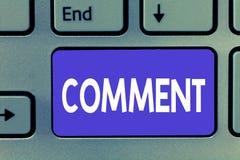 Comentário da exibição da nota da escrita Foto do negócio que apresenta a observação escrita verbal que expressa a reação de comu imagem de stock