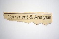 Comentário e análise fotografia de stock