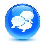 Comenta el botón redondo azul ciánico vidrioso del icono libre illustration