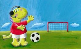 Comentador pequeno bonito do futebol do dinossauro do dragão Imagem de Stock
