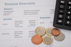 Comentario BRITÁNICO de la pensión con el dinero británico Fotografía de archivo libre de regalías