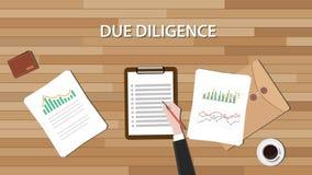 Comentario del negocio de la diligencia debida con el documento de papel y el gráfico Imagen de archivo