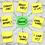 Comentarios y comentarios positivos de la alabanza sobre notas pegajosas stock de ilustración