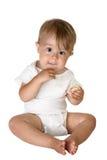 Comer adorável do bebé Imagens de Stock