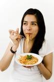 Comer bonito do modelo Imagem de Stock Royalty Free