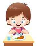 Comer da menina dos desenhos animados Fotos de Stock