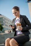 Comer da mulher de negócio - problemas Fotografia de Stock