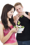 Comer dos amigos Imagens de Stock Royalty Free
