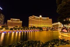 Comer lake of Bellagio at night in Las Vegas Royalty Free Stock Photos