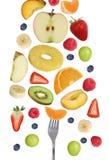 Comer a queda frutifica como maçãs frutifica, laranjas, banana e estreptococo fotografia de stock