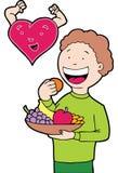 Comer saudável do coração Foto de Stock Royalty Free