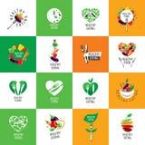 Comer saudável do logotipo do vetor ilustração royalty free