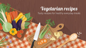 Comer saudável e receitas saborosos ilustração stock