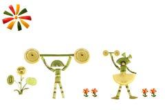 Comer saudável. Pessoas pequenas engraçadas das fatias do quivi. Fotografia de Stock