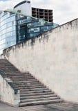 Comercial大厦、煤渣砌块或者砖墙 免版税库存照片