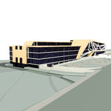 Comercial building 3d render Royalty Free Stock Photos