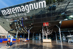 Comercial Centre Maremagnum, Barcelona. Barcelona, Spain - January 08 2017: People visit to the modern building of Comercial Centre Maremagnum at sunny day Stock Photos