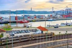 Comercial-Hafen von Lissabon, Portugal Stockfotografie