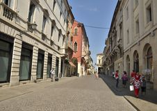 Comercial Italian street. Comercial street in Vicenza, a city in northeastern Italy, in the Veneto region.Vicenza has been enlisted as UNESCO World Heritage Site Stock Photo