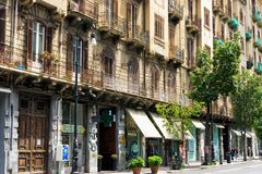 Comercial Street with Shops in the center of Palermo in Italy stock photos