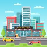 Comercialice el exterior, edificio del supermercado, colmado en paisaje urbano moderno con el ejemplo del vector del estacionamie Foto de archivo libre de regalías