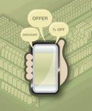 Comercialización móvil del comprador Imagen de archivo libre de regalías