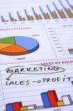 Comercialización, ventas y beneficio Fotografía de archivo libre de regalías
