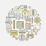 Comercialización y ejemplo copywriting stock de ilustración