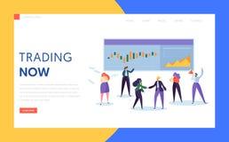 Comerciante Buying y página común, en enlace o de la materia o del derivado y del fondo mutuo de la venta del aterrizaje Funciona libre illustration