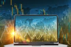 Comerciante conservado em estoque Computer Fotos de Stock Royalty Free