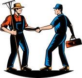 Comerciante del granjero, reparador, handym del fontanero