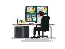 Comerciante em uma mesa Ilustração do vetor Foto de Stock
