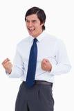 Comerciante joven que anima Imagen de archivo