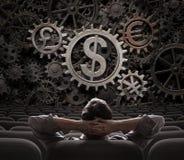 Comerciante ou acionista que olham na ilustração das engrenagens 3d das moedas Foto de Stock