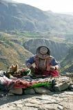 Comerciante peruano del borde de la carretera Imagenes de archivo