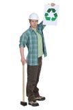 Comerciante que promove o recicl Fotografia de Stock