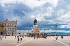 Comercio ajustent, Praca font Comercio un jour partiellement nuageux dans le Lis image libre de droits