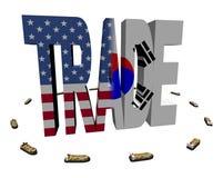 Comercio americano del coreano con las naves Fotografía de archivo
